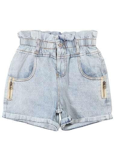 Blue Bleached Cuffed With Zipper Denim Shorts