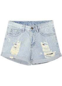 Light Blue Cuffed Ripped Denim Shorts