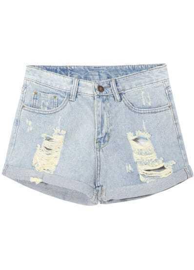Light Blue Cuffed Ripped Denim Shorts