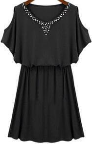 Black Off The Shoulder Bead Elastic Waist Dress