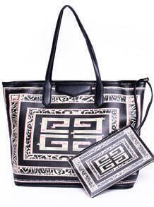 Black Geometric Print Shoulder Bag