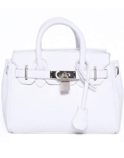 White Buckle Lock Embellished PU Tote Bag
