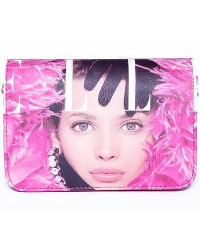 Pink Beauty Print PU Bag