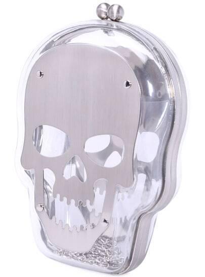 Silver Skull PU Clutch Bag