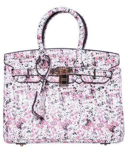 Pink Polka Dot Buckle PU Bag