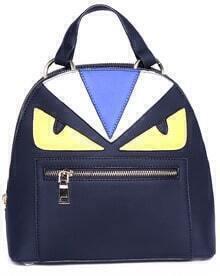 Black Zipper Contrast Patten PU Backpack