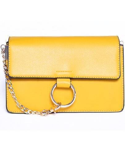 Yellow Ring Buckle Chain Tote Bag