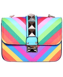 Patchwork Buckle PU Shoulder Bag