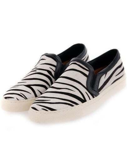 White Round Toe Zebra Flat