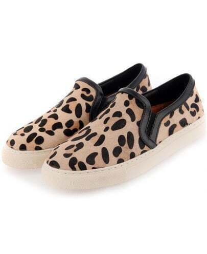 Brown Round Toe Leopard Flat