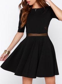 Black Half Sleeve Pleated Dress