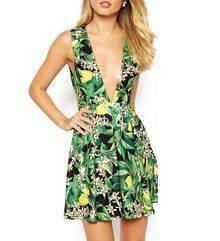 Green V Neck Floral Print Backless Dress