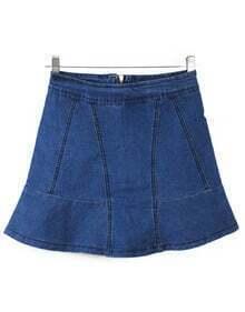 Blue High Waist Ruffle Denim Skirt Shorts