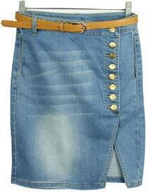 Blue Bleached Buttons Denim Skirt