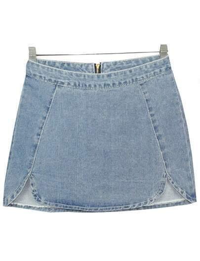 Blue Zipper Bodycon Denim Skirt
