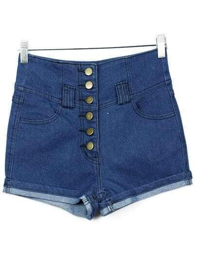 Blue Buttons Flange Denim Shorts