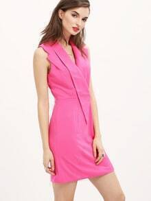 Rose Red Cerise Professionals Sleeveless V Neck Straight Dress
