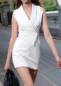 White Professionals Sleeveless V Neck Straight Dress