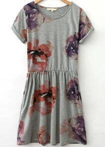 Grey Short Sleeve Floral Pleated Dress