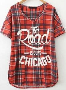 Red V Neck Plaid Letters Print T-Shirt