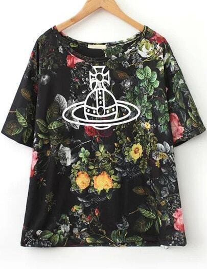 Black Short Sleeve Floral Satellite Print T-Shirt