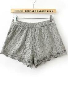 Grey Elastic Waist Lace Shorts