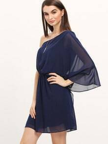 Navy One Shoulder Asymmetrical Chiffon Dress