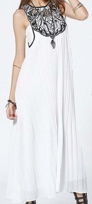 White Sleeveless Embroidered Pleated Chiffon Dress