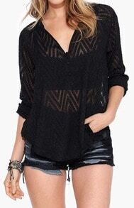 Black V Neck Sheer Lace Loose Blouse