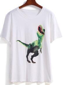 White Short Sleeve Dinosaur Print T-Shirt