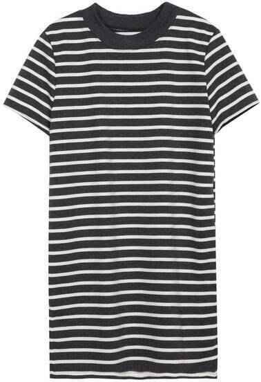 Grey White Short Sleeve Striped Split T-Shirt