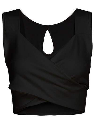 Black V Neck Backless Crop Tank Top