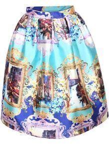 Blue Vintage Floral Flare Skirt
