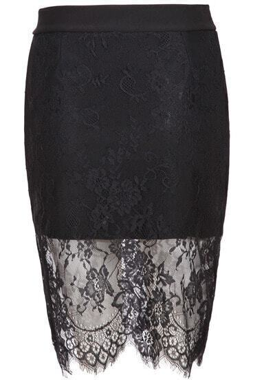 Black Floral Crochet Lace Bodycon Skirt