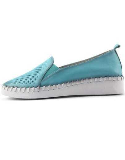 Blue Round Toe Flat Shoes