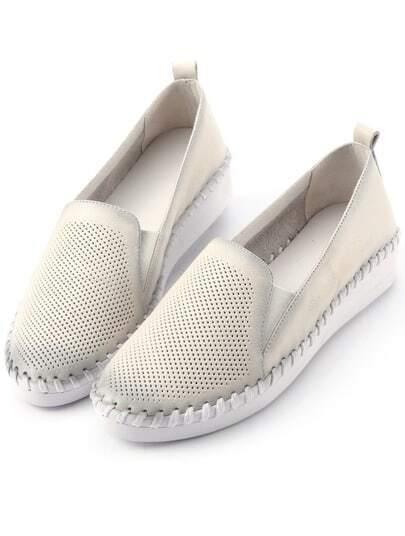 White Round Toe Flat Shoes