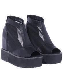 Black Zipper Platform Peep Toe Boots