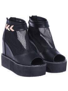 Black Back Zipper Platform Peep Toe Boots