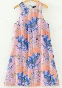 Orange Sleeveless Floral A Line Dress