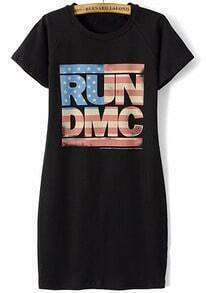Black Short Sleeve RUNDMC Print Slim Dress