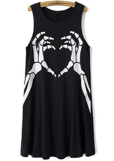 Black Sleeveless Skeleton Hand Print Dress