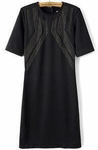Black Short Sleeve Bead Slim Dress