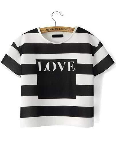 Black White Short Sleeve Striped LOVE Print T-Shirt