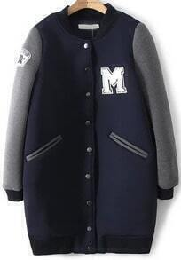 Navy Stand Collar Letters Pattern Coat