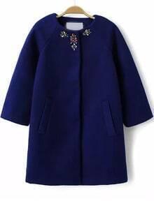 Blue Round Neck Bead Pockets Woolen Coat