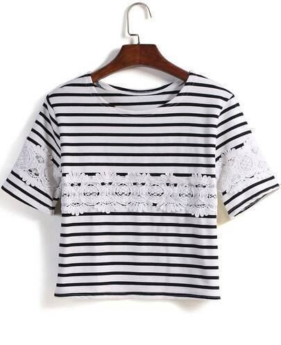 White Round Neck Striped With Lace Loose T-Shirt
