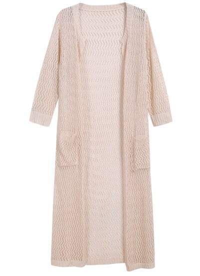 Apricot Long Sleeve Hollow Pockets Lace Coat