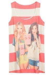 Red Sleeveless Striped Girls Print Dress