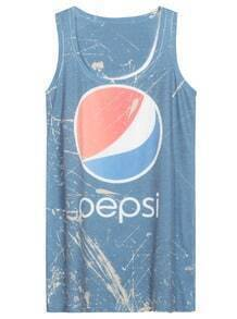 Blue Sleeveless Pepsi Print Tank Dress
