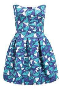 Green Strapless Geometric Print Flare Dress